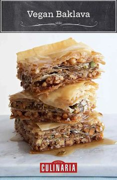 This vegan baklava swaps in agave nectar for the traditional honey and includes three (yes, three!) types of nuts. #baklava #vegan #nuts #pastry #greek #dessert Vegan Sweets, Vegan Desserts, Vegan Recipes, Dessert Recipes, Dessert Healthy, Vegan Foods, Breakfast Recipes, Vegan Baklava, Baklava Recipe