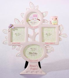 Proudly display photos of your baby girl's first steps, first bath, first haircut and first smile with this pink owl picture frame. The resin frame is painted in soft pink and shaped as a charming tree, with leaves, an owl and a butterfly as decoration. This frame has an easel in back for standing and also a hook at the top for hanging on the wall.