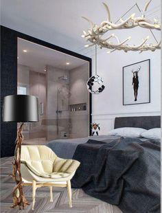 "Modern style bedroom moodboard by Inna Grigorieva, ""Interior design"" course student in European Design School, Kiev, Ukraine. Коллаж настроения спальни в современном стиле, автор - слушательница курса ""Дизайн интерьера"" в Европейской Школе Дизайна Инна Григорьева. #bedroom #moodboard #interiordesign #modern"