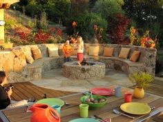 firepit seating - THIS IS WHAT WE ARE THINKING!!! Built in seating around firepit - Love it.