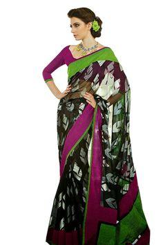a14a9a42f BLack Green Brasco Designer Looking Saree - Saree Buying Black Saree