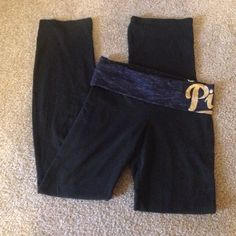 Victoria's Secret PINK boot cut yoga pants Band is navy with PINK written in gold on the hip, some gems missing on the P. Size is a medium! PINK Victoria's Secret Pants Boot Cut & Flare