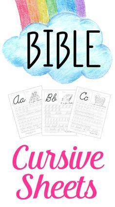 Free Cursive Handwriting Worksheets.  Bible ABC Cursive handwriting practice, perfect for homeschooling families.  www.BibleStoryPrintables.com