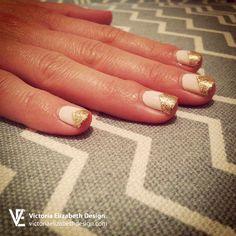 Chevron nails, glitter nails, nail polish, nail design, nail art, pink nails, gold nails.