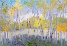 "Rodger Bechtold, NEW GROWTH TREES, Oil on Linen, 36 X 52"", Tory Folliard Gallery"