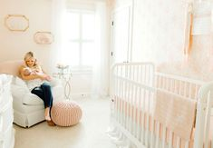 A Sweet Blush Nursery for Baby Cameron - Project Nursery Blush Nursery, Nursery Bedding, Girl Nursery, Girl Room, Nursery Decor, Nursery Ideas, Pink Crib, Green Rooms, Project Nursery