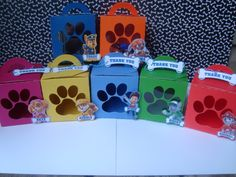 Paw Patrol Favor Box. Make with premium cardstock and plastic. {LISTING IS FOR 12 BOXES, PLEASE INBOX ME FOR CUSTOM LISTING AND PRICE}      •