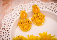 Sunny yellow crystal handmade square earrings gift for her by nikuske on Etsy