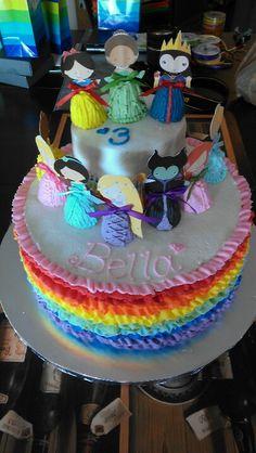 Bellas rainbow princess birthday cake!