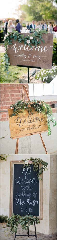 chic wedding welcome sign ideas with floral