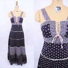 jaren 1970 jurk vintage 70s calico afdrukken door StorylandVintage