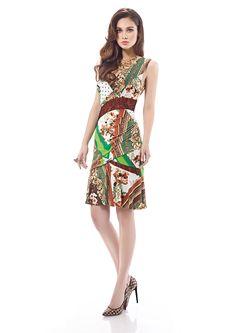 Inter Zeila 9456 | GN Design Group INTER ZEILA 9456  Vestido corto en tejido jersey estampado y detalles de encaje