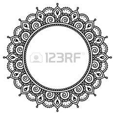 Mehndi, tatouage au henné indien jet rond. Banque d'images - 40031438
