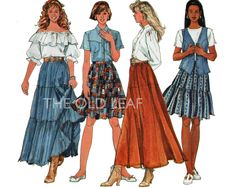 Sewing Pattern for 1990s Tier Skirt in 2 Lengths, Easy Simplicity 7520 #GypsySkirtPattern #EasyTierSkirt #PlusSizePatterns #PeasantSkirtPattern #BootSkirtPattern #1990sFashion #TheOldLeaf