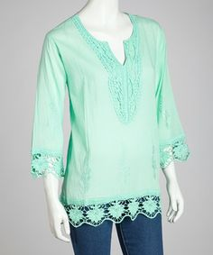 Take a look at this Aqua Embroidered Lace Tunic - Women by SR Fashions on #zulily today!