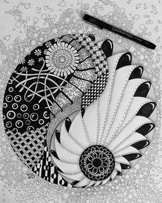 "Nicole on Instagram: ""A big one this time: Yin Yang #zentangle #zentangleart #zendoodle #zendoodleart #zendala #mandala #penart #penandink #draw #drawing…"""
