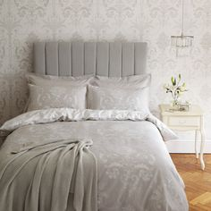 Josette Dove Grey Cotton Duvet Cover