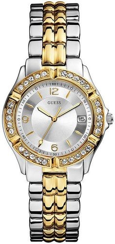 37e56fe40a7c GUESS Women s Dazzling Sporty Silver   Gold-Tone Mid-Size Watch Quartz  movement Polished silver-tone + gold-tone case with crystals Polished  gold-tone and ...