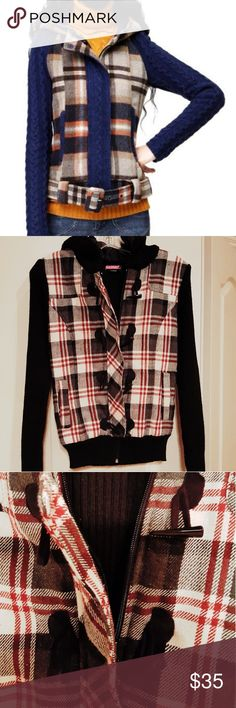 "Plaid/Black Jacket Super cute and trendy plaid and black jacket. Gently used. Jacket has sweater arms and back, hood and front are lined. Length is 23"" and sleeve length is 26"". Picture one is used for modeling and fitting purposes only,  not the same jacket for sale. Bundle and save an extra 15%. Jackets & Coats Utility Jackets"