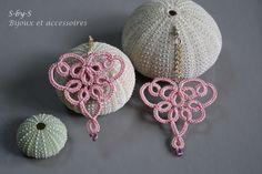 boucles d'oreilles - frivolité - vieux rose : Boucles d'oreille par s-by-s