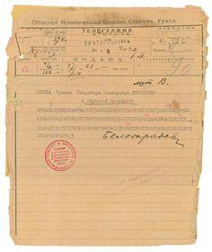 The encrypted telegram from Beloborodov & Goloshchekin to Sverdlov advising them that the imperial family had been executed.