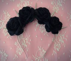 Pastel goth black flower crown   Available in our etsy shop!  www.etsy.com/shop/voxpopuli77
