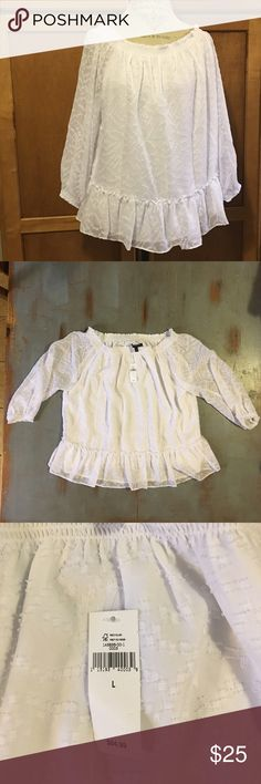 Banana Republic blouse Beautifully feminine and flowy Banana Republic blouse. Fully lined bodice patterned in raised dots. Elastic neckline allows you to wear it off the shoulders of you want. Banana Republic Tops Blouses