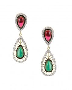 Leaf Shape Earrings with Pink Stone Top