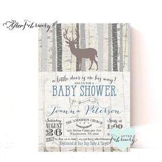Woodland Baby Shower Invitation - Baby Boy Shower Invite Deer Shower Invites Birch Deer Trees Vintage Retro Rustic - Typography - No.859