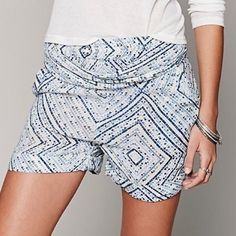 FREE PEOPLE Classic Shorts Patterned Bohemian Mini Available Sizes: XS, Small. New with tags.  $68 Retail + Tax.    Printed high rise shorts featuring an elastic waistband and fabric belt.   Comfortable, chic with rolled hemline.  Run true to size.  Rayon. Imported.     • Measurements provided in comment(s) section below  {Southern Girl Fashion - Closet Policy}  ✔️ Same-Business-Day Shipping (10am CT). ✔️ Price shown is firm unless bundled. ❌ No trades, thank you! Free People Shorts