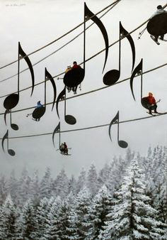 "Ski Lift ~ People ride in the ""notes"" ~ Concerto N°4 - Mihai Criste"