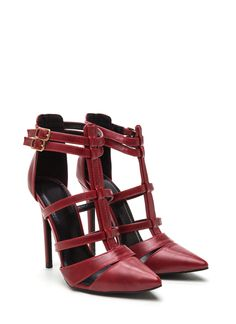 Cage is all the rage! Especially with these strappy pointy heels.