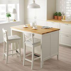 TORNVIKEN Kitchen island, off-white, oak - Shop here - IKEA Kitchen Worktop, Kitchen Pantry, Rustic Kitchen, Kitchen Dining, Kitchen Cabinets, Dining Table, Kitchen Island Trolley, Kitchen Islands, Kitchen Island Seating