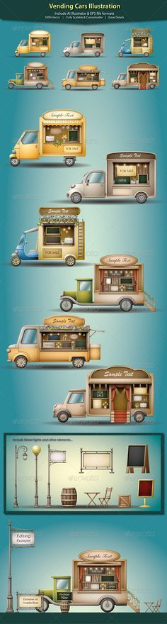 Vending Cars Illustration - Commercial / Shopping Conceptual