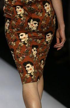 brown print pencil skirt