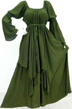 Amazon.com: GREEN DRESS PEASANT LAYER RENAISSANCE - FITS (ONE SIZE) - L XL 1X 2X - G803G LOTUSTRADERS: Clothing