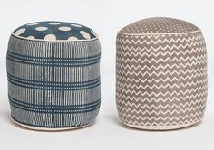 Fabric Stools. I'm considering replacing my coffee table eventually with a grouping of little stools/ottomans like these that can be used together as a solid surface or pulled apart for extra seating. Source: Walter G (http://walter-g.com.au/), discovered via Design Sponge