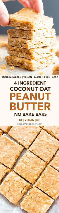 4 Ingredient No Bake Peanut Butter Coconut Oatmeal Bars (V, GF): an easy, one bowl recipe for protein-rich, gluten-free oatmeal bars bursting with peanut butter and coconut. #Vegan #GlutenFree #DairyFree #HealthySnacks #ProteinRich #RefinedSugarFree #PlantBased | Recipe on BeamingBaker.com