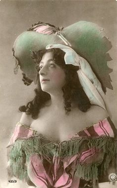 Vintage French hand tinted photo postcard - Lady with big hat - Victorian Paper Ephemera