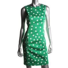 ANNE KLEIN Green Polka Dot Sleeveless Knee-Length Wear to Work Dress  BHFO #AnneKlein #WeartoWorkDress