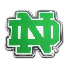 University of Notre Dame Green and White Logo Chrome Auto Emblem is for the University of Notre Dame or NCAA, Notre Dame Fighting Irish sports fan made of chrome on a white background with University of Notre Dame Green and White logo.
