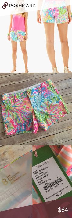 """NWT Callahan Short Lovers Coral Lilly Pulitzer NWT Callahan Short, print is Lovers Coral. Lilly Pulitzer. 5"""" inseam & waist laying flat pictured. Essential preppy girl style!!! No trades, only offer button. Lilly Pulitzer Shorts"""