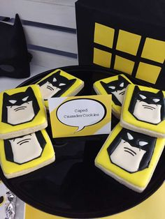 Sugar cookies at a Batman birthday party! See more party ideas at CatchMyParty.com!