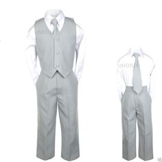 Baby Boys Toddler Wedding Formal Party Vest Set Silver Gray Grey Suits S-4T, 5-7 #Unbranded #FormalOccasionDressyDressyHolidayPageantWedding
