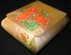 #Selenite #large #box the #artist #decorated it with a #pattern of #red #flowers #roses