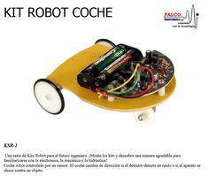 KIT ROBOT  COCHE Una serie de Kits Robot para el futuro ingeniero. ¡Monte los kits y descubra una manera agradable para  familiarizarse con la electrónica, la mecánica y la hidráulica! Coche robot controlado por un sensor. El coche cambia de direc ción si el detector detecta un ruido o si el aparato se  choca contra un objeto. #productoPalco #kit #robot #educacional Kit, Control, Products, Autos, Engineer, Future, Robotics, Gadget