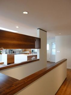 Check out this amazing mid-century bungalow renovation by SHED. Limits like a tight budget and construction schedule didn't stop this bungalow from Open Basement Stairs, Stairs In Kitchen, Basement Steps, Basement Guest Rooms, Basement Walls, Rambler Remodel, Bungalow Conversion, Bungalow Renovation, Stair Renovation