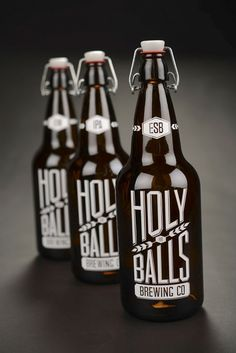 Great type choice. Great lockup. Nice use of wheat and locking shapes...     Student Spotlight: Holy Balls Brewing Co. - The Dieline -