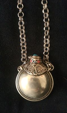 SALE Antique Silver Snuff-Perfume Bottle Necklace with Turquoise Edwardian Victorian steam SALE