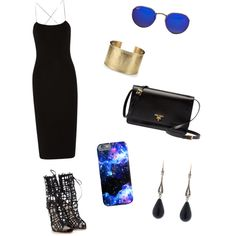 Galaxy glam by sol989 on Polyvore featuring polyvore, fashion, style, T By Alexander Wang, Sophia Webster, Prada, Blue Nile and Ray-Ban